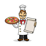 Pizzeria icon. Chef wih Menu card and pizza Stock Images