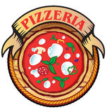 Pizzeria icon. Pizzeria symbol   project with wood background Stock Photo