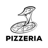 Pizzeria logo. With chewy cheese in pizza royalty free illustration