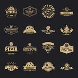 Pizzeria logo icons set, simple style. Pizzeria logo icons set. Simple illustration of 16 pizzeria logo vector icons for web royalty free illustration