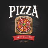 Pizzeria Logo Template. Vector emblem for cafe, restaurant or food delivery service royalty free illustration