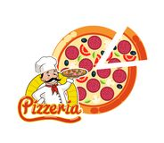 Pizzeria Logo Pizza Italian Dish Slice and Chef. Pizzeria logo vector, cut pizza, Italian dish sliced. Isolated logotype of chef holding prepared meal with royalty free illustration