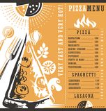 Pizzeria menu graphic design idea Royalty Free Stock Image