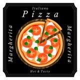 Pizzeria menu sliced triangle whole hot pizza. Stock Photos