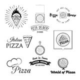 Pizzeria menu vintage design elements and badges set. Collection of vector pizza signs, symbols and icons. Royalty Free Stock Image