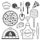 Pizzeria Monochrome Elements Set. With cooked product and vegetables uniform of chef culinary utensils isolated vector illustration Stock Photography