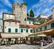 Pizzeria na kwadratowym Nicolas Dzhurkovicha w Herceg Novi, zdjęcie royalty free