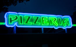 Pizzeria neon sign Royalty Free Stock Images