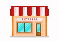 Pizzeria Nowożytnego budynku Płaska Wektorowa ilustracja royalty ilustracja