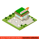 Pizzeria pizza restaurant flat 3d isometric  building Stock Image