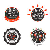 Pizzeria Restaurant Shop Design Element in Vintage Stock Images