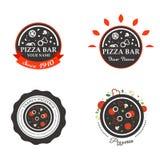 Pizzeria Restaurant Shop Design Element in Vintage Stock Images