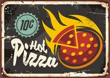 Pizzeria restaurant sign. With hot tasty pizza on old dark metal background. Retro vector advertisement with creative text, pizza slice and flames Stock Photos