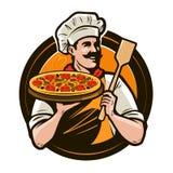 Pizzeria, Schnellimbisslogo oder Aufkleber Glücklicher Chef, der Pizza und Schulterblatt in den Händen hält Auch im corel abgehob vektor abbildung