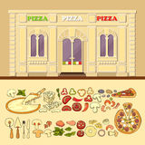 Pizzeria and set of cute various pizza ingredient icons. Royalty Free Stock Photography