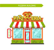 Pizzeria shop building. Vector flat style illustration of pizzeria shop building. Signboard with slice of pizza in heart shape. People eating and drinking at the Stock Image