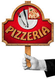 Pizzeria - Sign with Hand of Waiter Royalty Free Stock Photography