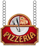 Pizzeria - Sign with Metal Chain Royalty Free Stock Images