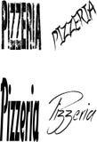 Pizzeria text Sign Stock Photos