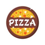 Pizzeria Vector Emblem - isolated label vector illustration. Pizza logo template. Pizza on a wooden plate royalty free stock photo