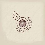 Pizzeria vector logo template. Pizzeria logo template with text Italian pizza in Italian. Vector emblems for restaurants, cafe, Italian Cuisine or pizza delivery stock illustration