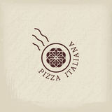 Pizzeria vector logo template. Pizzeria logo template with text Italian pizza in Italian. Vector emblems for restaurants, cafe, Italian Cuisine or pizza delivery vector illustration