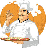 Pizzeriachef-kok Holding Pizza Pan vector illustratie