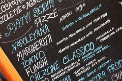 Pizzeriamenü Stockfoto