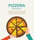 Pizzeriareklamblad Folk som har matställen tillsammans och vektor illustrationer