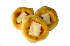 Pizzette - mini pizzas - d'isolement. Image stock