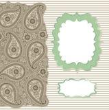 Pizzo d'annata della striscia di Paisley. Modello di progettazione, materiale illustrativo Immagine Stock