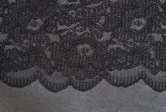 Pizzo nero su seta Immagini Stock Libere da Diritti