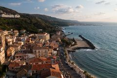 Pizzo Reggio Calabria at sunset. Pizzo a seaside town on a summer evening Stock Images