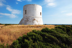 Pizzo Tower. An old coastal tower near Gallipoli in southern italy built in 16 century as sighting point against pirates' invasions Royalty Free Stock Photos