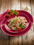 Pizzoccheri with tomato and ricotta Stock Photos