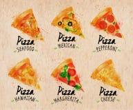 Pizzy akwarela ustalony Kraft royalty ilustracja