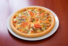pizzy brzdąc pomidory fotografia stock