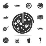 Pizzy ikona Szczegółowy set włoskie foods ilustracje Premii ilości graficznego projekta ikona Jeden inkasowe ikony dla sieci ilustracji