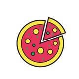 Pizzy ikony sylwetka odizolowywająca na białym tle Jedzenie Obrazy Stock
