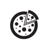 Pizzy ikony sylwetka odizolowywająca na białym tle Jedzenie Zdjęcie Stock