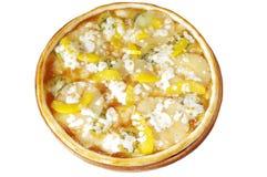 Pizzy owoc z brzoskwinią, kiwi, ananasy, jabłczany dżem. Zdjęcie Stock