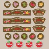 Pizzy poczty materiały Signboards, rabaty, promocyjne etykietki dla pizzy, pizza składniki royalty ilustracja