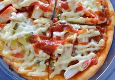 Pizzy polewy imitaci kraba opatrunkowy ketchup na plastikowej tacy Obrazy Stock