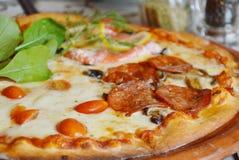 Pizzy polewy pomidor na glina talerzu i salami Obraz Stock