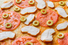 Pizzy tło - makro- strzał pepperoni pizza Obrazy Stock