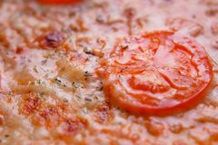 Pizzy tekstura Wyśmienicie Włoski jedzenie Margherita z rozciekłym mo Zdjęcie Stock