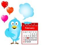 Pájaro azul con el calendario del icono para febrero. Foto de archivo libre de regalías