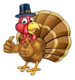 Pájaro de Turquía de la acción de gracias de la historieta en sombrero de los peregrinos Foto de archivo
