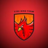 Pájaro en un emblema o Logo Template del vector del escudo Ejemplo de Phoenix del fuego Foto de archivo