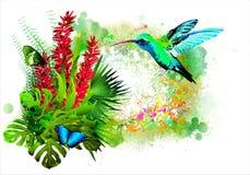 Pájaro tropical con las flores Imagenes de archivo